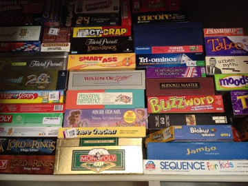 Victory Point Café's growing collection of board games. Photo: Victory Point Café