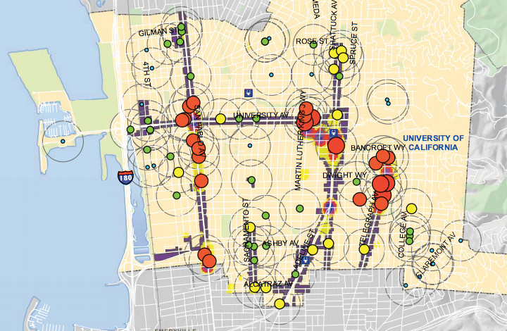 A heat map of arrests in commercial areas in Berkeley in 2013. Red circles indicate 148-272 arrests; orange circles show  69-147 arrests. The smaller the circle the fewer the arrests. Image: Berkeley Police Department