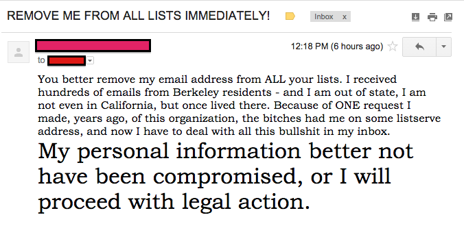 One woman threatened legal action after her email address was included in Guest's test email.