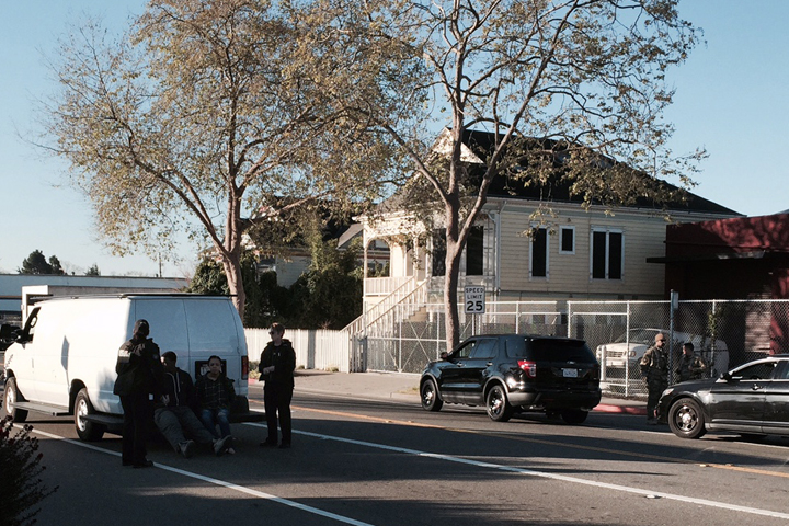 Police activity at Sixth and Cedar streets on Thursday. Photo: Citizen reporter
