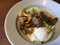 Poached eggs with chanterelle mushrooms, burdock and green garlic ($16). Brunch at Camino in February 2015. Photo: Emilie Raguso