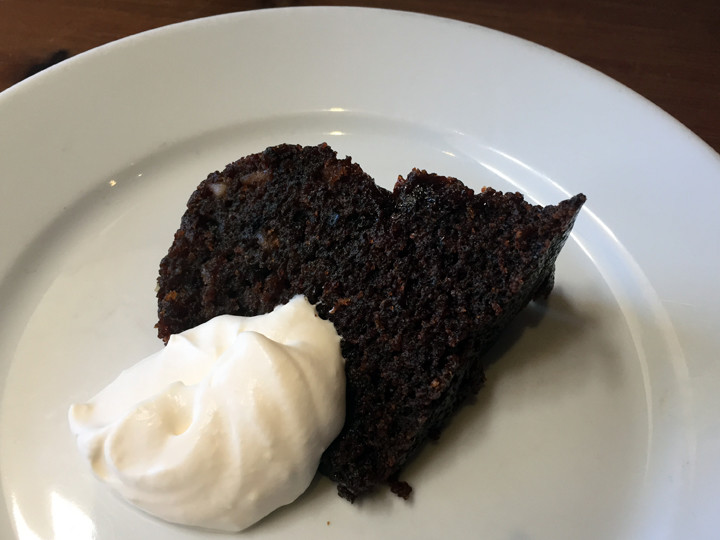 Persimmon pudding with whipped cream ($11). Brunch at Camino in February 2015. Photo: Emilie Raguso