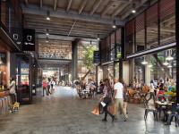 Newberry Market & Deli, which will sell fresh produce among other things, is the first tenant to sign on to open in the renovated Sears Building in Uptown Oakland which developers hope to see transformed into a foodie and tech hub for the Millennial generation. Rendering: Steelblue