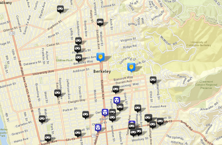 There were 23 burglaries (shown in black) reported over this period, via CrimeMapping.com. The prior week there were 30. There were also four robberies (in blue), following five the prior week. Click the map for a list of both.