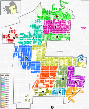Only residents who live in RPP, and within a quarter-mile of BART, would be eligible for parking waivers. (Click the map to see a larger version.) Image: City of Berkeley