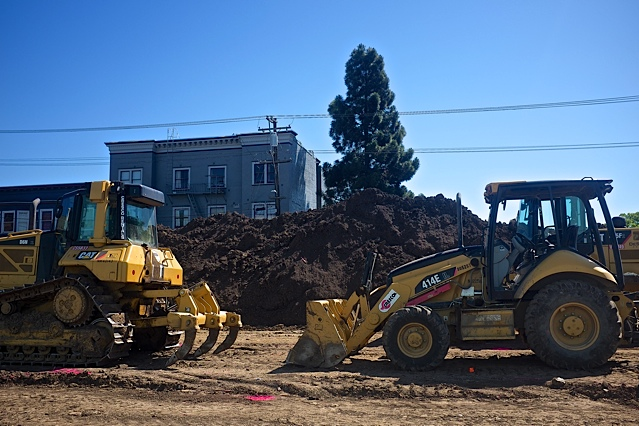 Construction equipment at Thursday's groundbreaking ceremony for 2121 Dwight Way. Completion is expected within 18 months, according to project reps. Photo: Ted Friedman