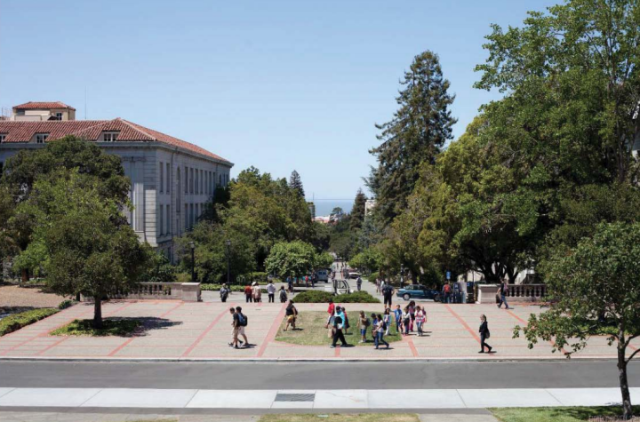 This is a rendering of the view from the central part of the stairs at the base of the Campanile. A portion of 2211 Harold Way can be seen at the left.