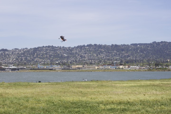 A drone is flown in Cesar Chavez Park, with Berkeley Hills at the backdrop. Photo: Seung Y. Lee