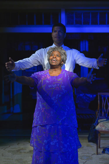 Sullivan Jones (The Angel) and Cheryl Lynn Bruce (Shelah) perform in Tarell Alvin McCraney's Head of Passes, a poignant and poetic new play about the journey of family and faith, trial and tribulation at Berkeley Rep. Photo courtesy of kevinberne.com