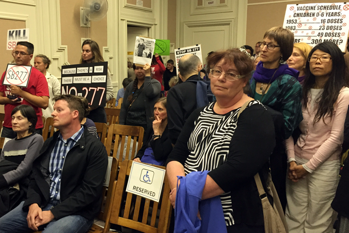 Opponents of state bill SB277 came out Tuesday night to testify before the Berkeley City Council. Photo: Emilie Raguso