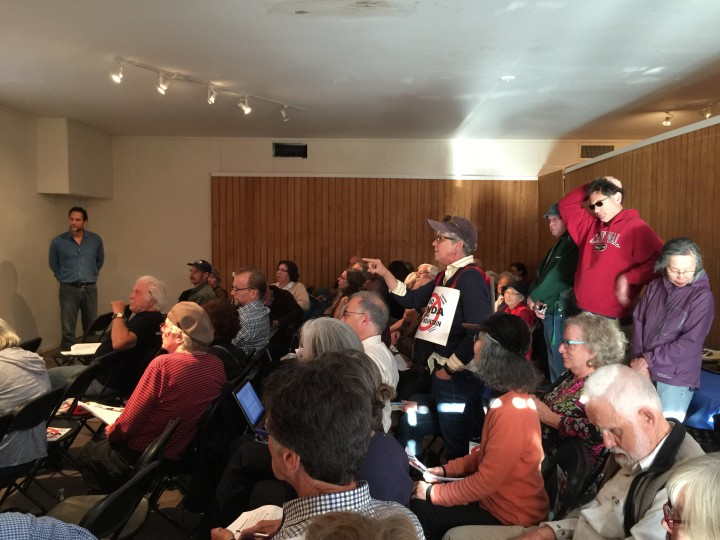 The crowd at a meeting on April 1, 2015 to discuss Berkeley Honda's plans to move to 2777 Shattuck Ave. Photo: Frances Dinkelspie