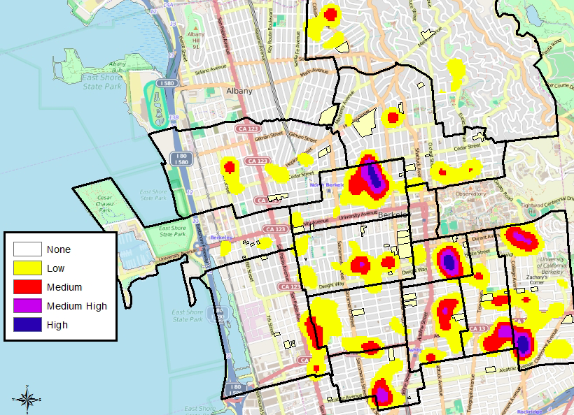 Police have reported sharp increases in home burglaries around Berkeley. (Click the map to view it larger.) Image: BPD