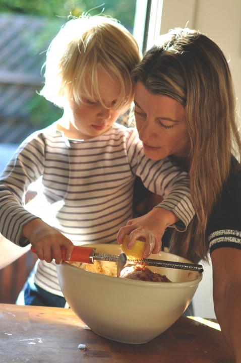 Phyllis Grant chronicles life cooking with children, pictured here with son Dash in 2012. Photo: Matt Ross
