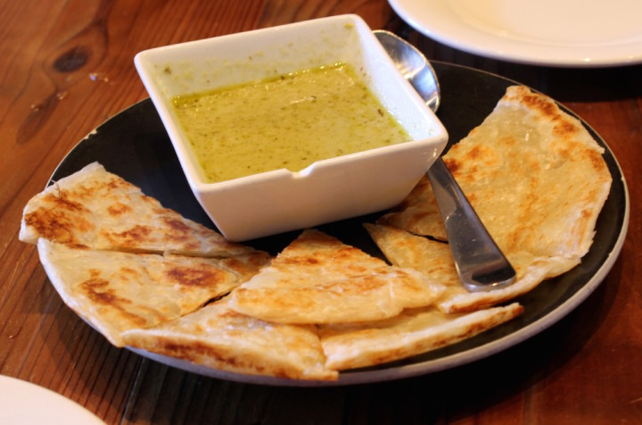 Roti bread with green curry from Imm Thai. Photo: Kate Williams