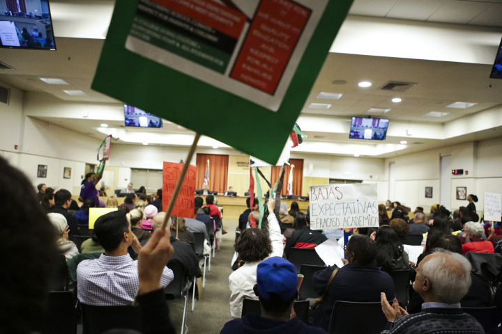 The BUSD board meeting was fully packed during public comments. Photo: Melati Citrawireja