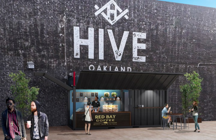 A rendering of the Red Bay Coffee café that will be housed in a converted shipping container at Hive in Uptown Oakland. Image: Gensler