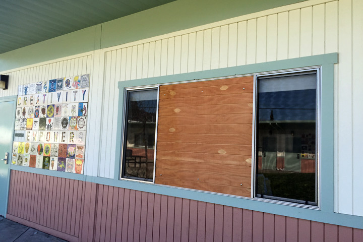 A student punched through this window during a verbal argument with another student earlier this year. Photo: Emilie Raguso
