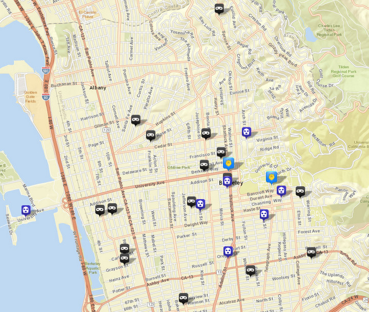 There were 16 burglaries (shown in black) reported over this period, via CrimeMapping.com. The prior week there were 16. There were also seven robberies (in blue), following two the prior week. Click the map for a list of both.