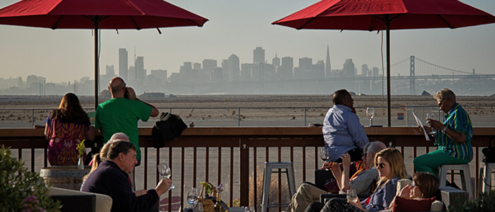 Rock Wall offers a view of San Francisco skyline from its tasting deck. Photo: courtesy Rock Wall
