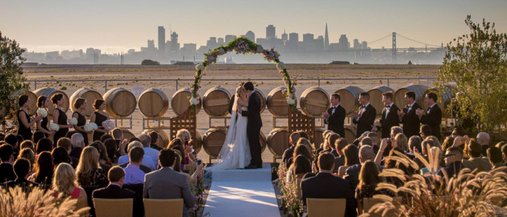 A wedding ceremony at Rock Wall whose tasting deck offers a view of the San Francisco skyline. Photo: courtesy Rock Wall co.