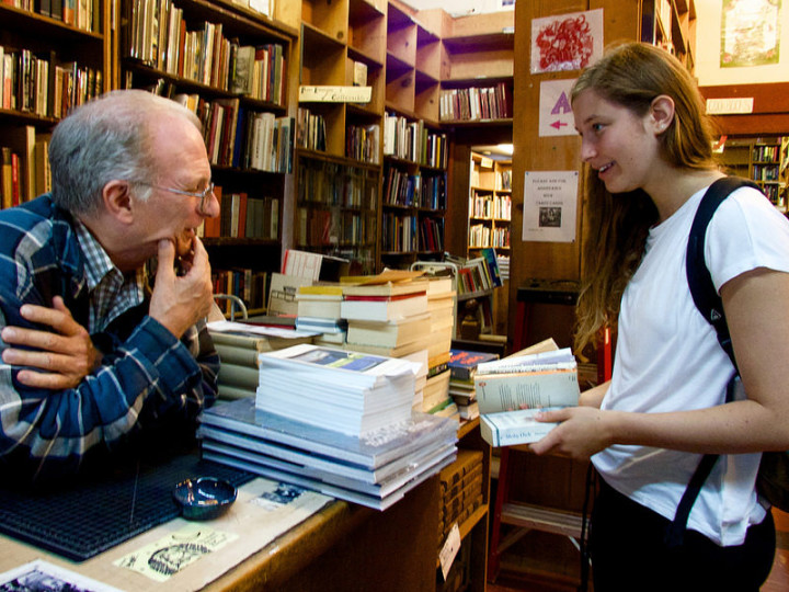Julie Kleinerman, a last customer 7:15p., a berkeley resident, who will be a student next semester at UCLA. She asked Vobber for recommendations for books for a camping tri[p she's taking. Photo: Ted Friedman