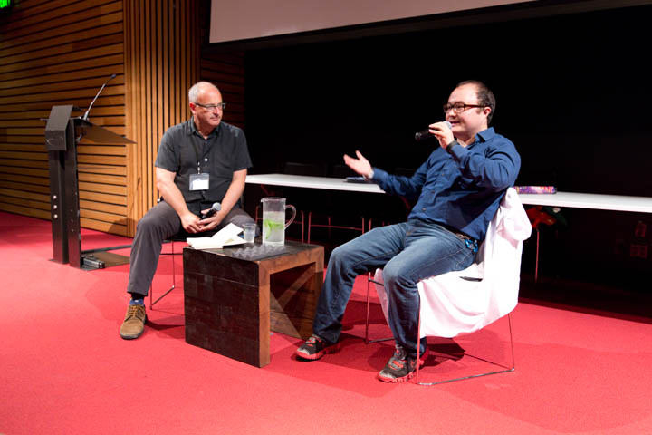 Lance Knobel and Ben Parr talk at the Uncharted at Bay Area Book Festival session. Photo: Ira Serkes