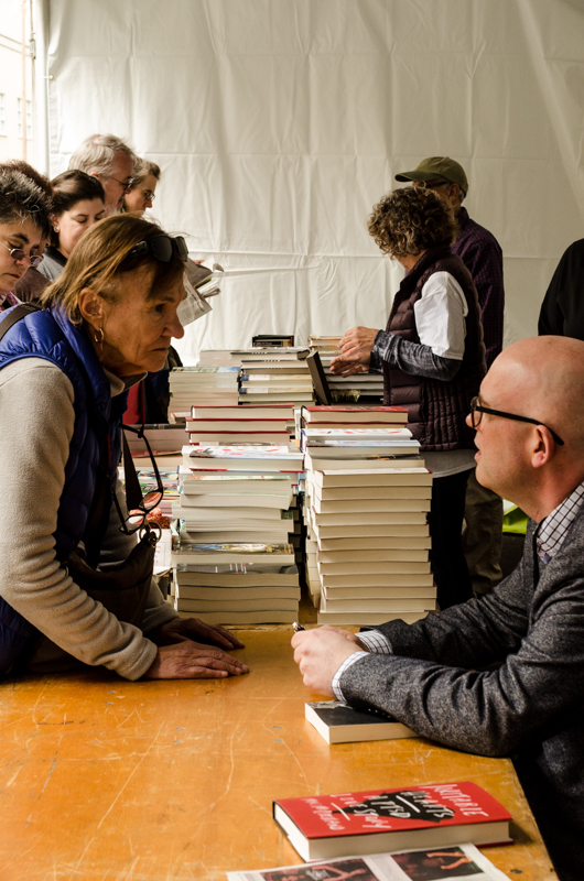 Chatting at the Bay Area Book Fest. Photo: Richard Friedman