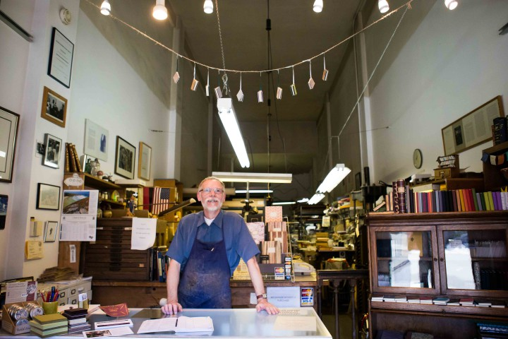 Klaus-Ullrich Rötzscher at the front of Pettingell's Book Bindery. Photo: Melati Citrawireja