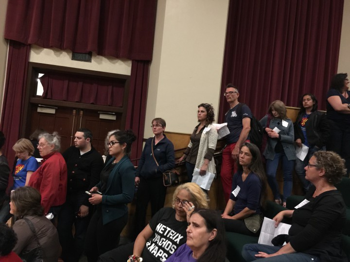 More than 40 people lined up to discuss short term rentals at the June 9, 2015 City Council meeting but many of them did not get the chance to testify because the meeting ended abruptly. City Council members could not agree to extend the meeting until midnight. Photo: Frances Dinkelspiel