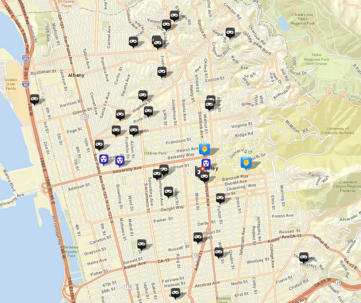 There were 28 burglaries (shown in black) reported over this period, via CrimeMapping.com. The prior week there were 24. There were also three robberies (in blue), following five the prior week. Click the map for a list.