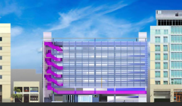 A mock-up of the planned exterior of the Center Street garage. The ZAB will be meeting on Thursday to review the project. Image: Marcy Wong Donn Logan Architects