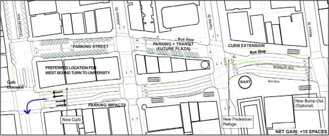 A draft of the proposed traffic flow changes on Shattuck Avenue. Image: Downtown Area Plan