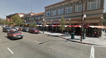 The parking that acts as a buffer for outdoor seating would be removed. Image: Google Maps