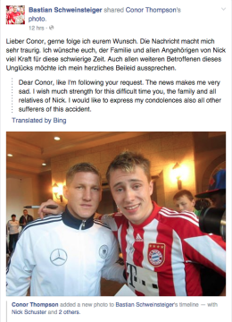 German soccer player Bastian Schweinsteiger posted on Facebook in response to the death of Nick Schuster. Image: Facebook