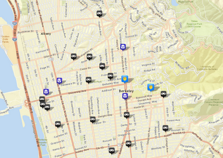 There were 16 burglaries (shown in black) reported over this period, via CrimeMapping.com. The prior week there were 17. There were also four robberies (in blue), following four the prior week. Click the map for a list.