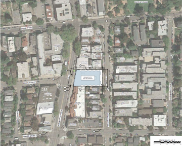 An aerial shot of the proposed building. Image: