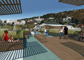 A rendering of the roof. The space is imagined as a series of smaller areas rather than a large gathering space. Image: