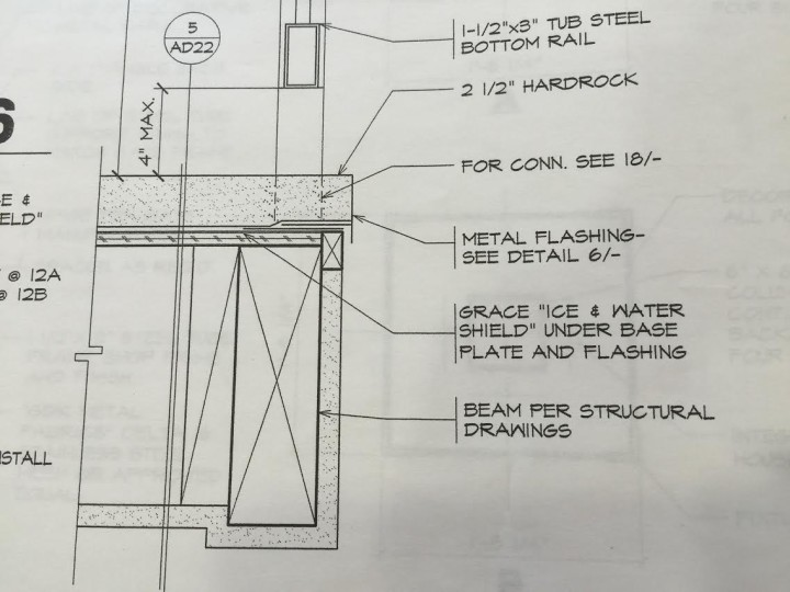 Detail from architectural plan for 2020 Kittredge St.
