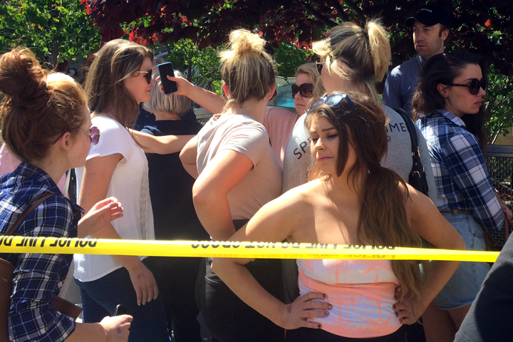 Students outside Tuesday's balcony collapse in Berkeley struggled to make sense of the tragedy that killed at least six Irish students. Photo: Emily Dugdale