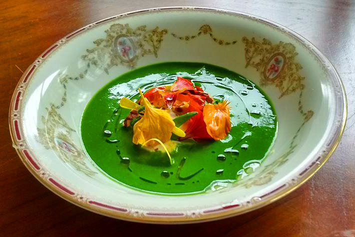 Nasturtium soup at Journeymen pop-up at Hopscotch. Photo: courtesy Journeymen