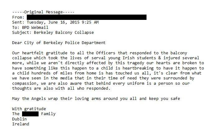 A thank you letter to Berkeley police from a family in Ireland. Photo:Bryon White/Facebook