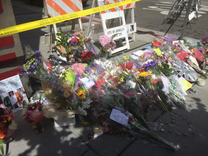 Flowers at site of Tuesday's balcony collapse. Both the Irish community and Berkeleyans are creating support networks and fundraising for the families and friends of those affected by the tragedy. Photo: Emily Dugdale