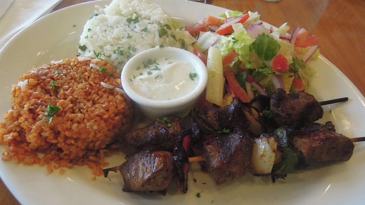 Kobani's lamb shish kebab plate. Photo: Anna Mindess