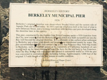 The historical plaque at the Berkeley pier. Photo: Frances Dinkelspiel
