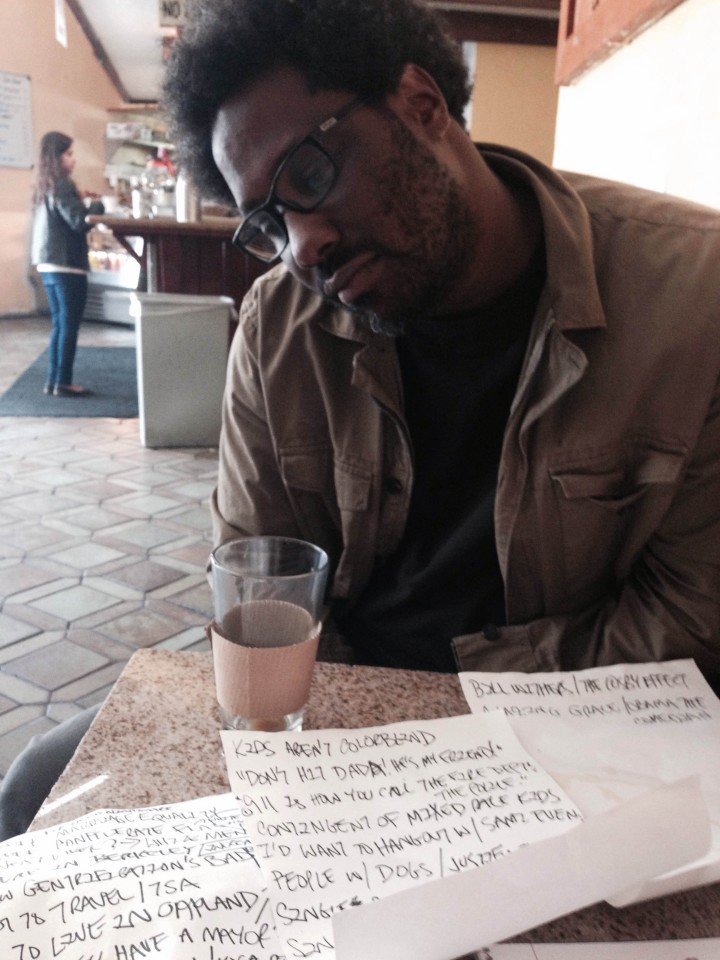 Kamau Bell with notes for his standup show. Photo Tracey Taylor