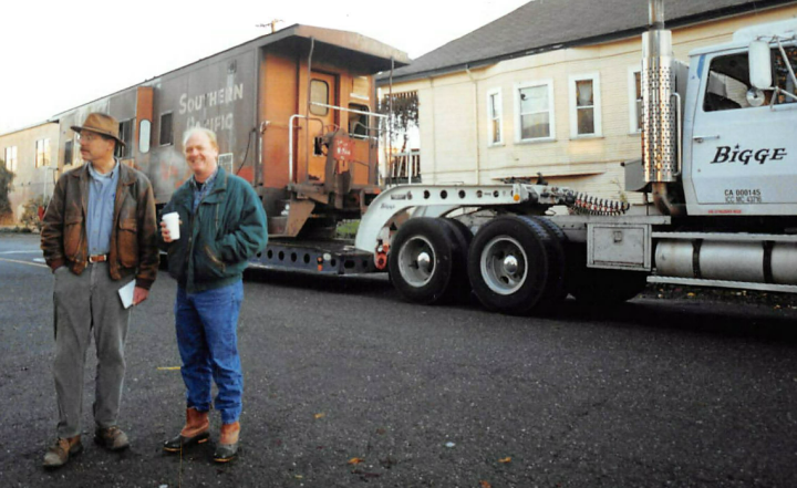 Caboose arrives at 1506 5th Street. Photo courtesy of Rob Garross (on the right in photo).