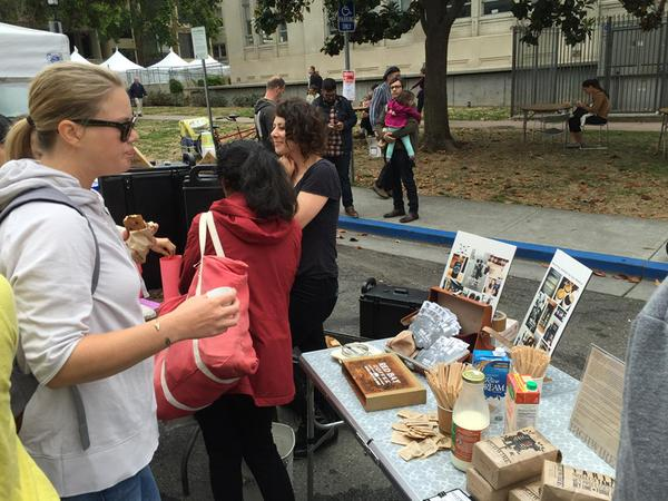 Taste testing Red Bay and Highwire at the Berkeley farmers market on June 6, 2015. Photo: Galen Pange r