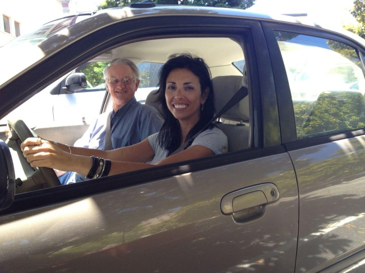 Ashby Village volunteer Pat Carvalho gives Tom Boyden  a lift. Photo: Ashby Village