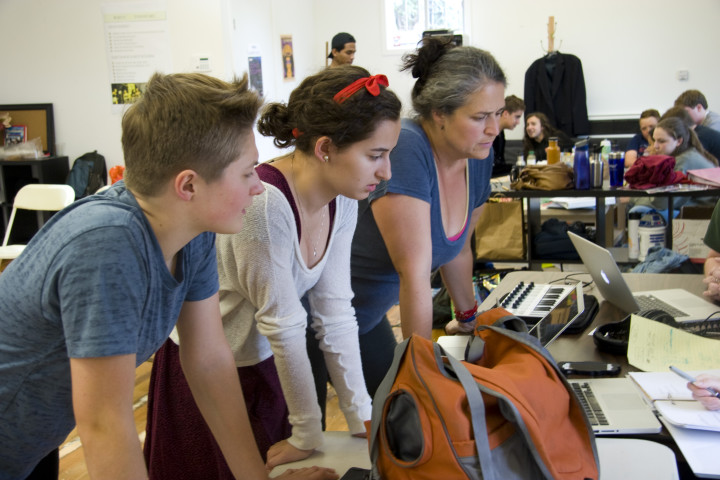 Actors Hannah Miller (left) and Sophia Sinsheimer (center) and Director Jennifer Boesing consult with Dave Malloy and Krista Knight about script changes with just over a week until the show opens. Photo: Francesca Paris