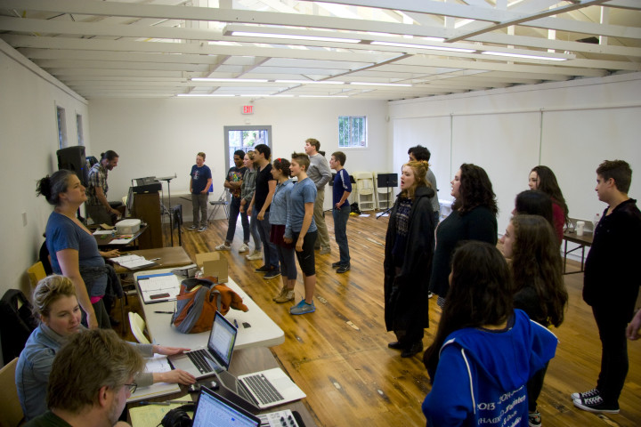 """The cast of """"Don't Stop Me"""" practices the finale, which offers some redemption in an otherwise very dark show, according to Director Jennifer Boesing. Photo: Francesca Paris"""